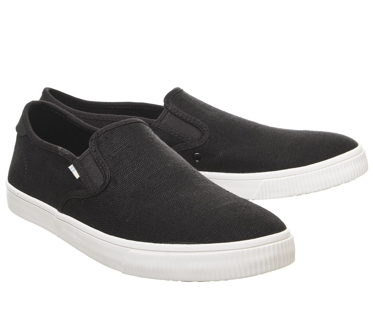 Da-Uomo-Toms-Baja-SLIP-ONS-Black-suola-bianca-scarpe-casual miniatura 7