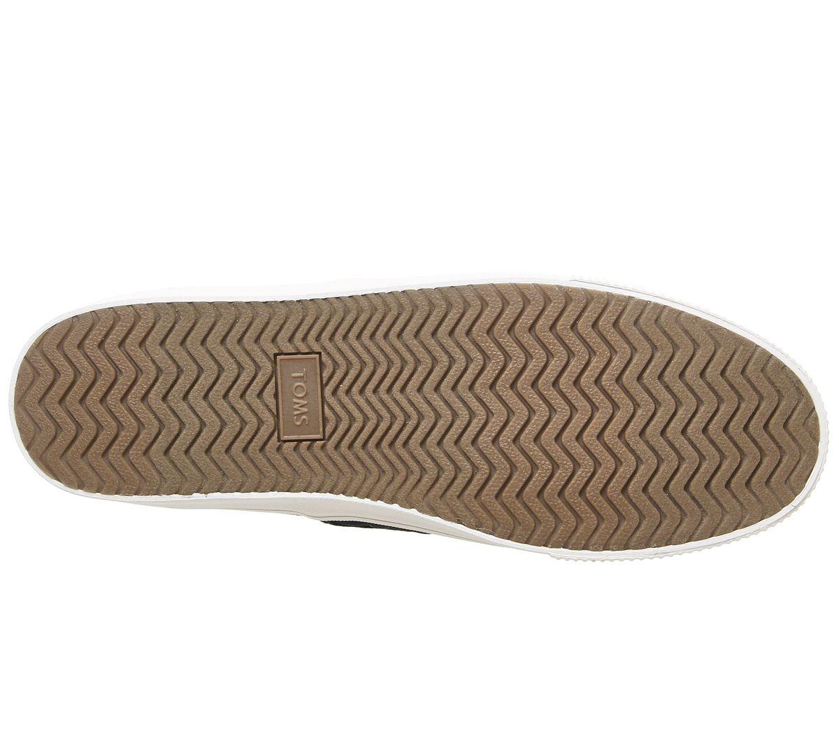 Da-Uomo-Toms-Baja-SLIP-ONS-Black-suola-bianca-scarpe-casual miniatura 6