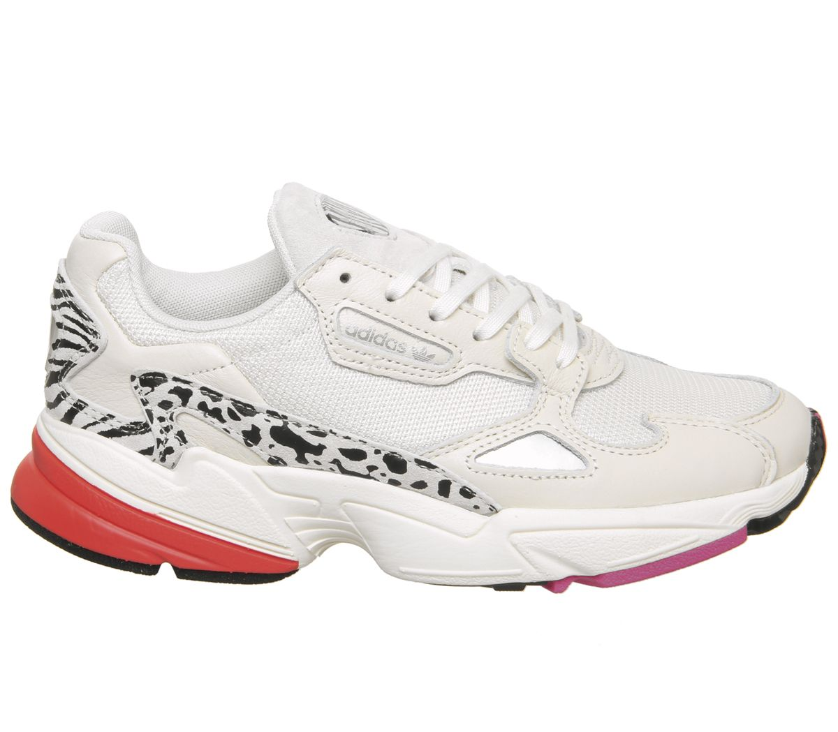 Details zu Womens Adidas Falcon Trainers Off White Shock Pink Silver Animal Trainers Shoes