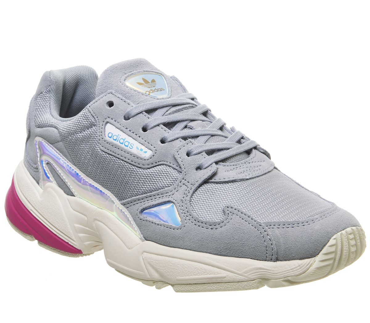 Details about Womens Adidas Falcon Trainers Light Grey Real Magenta  Iridescent Trainers Shoes