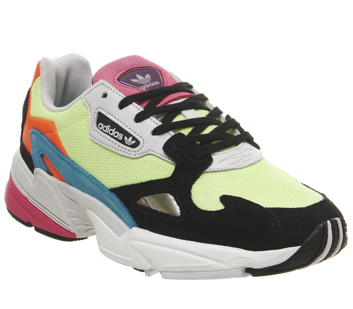 Details about Womens Adidas Falcon Trainers Hi Res Yellow Core Black Trainers Shoes