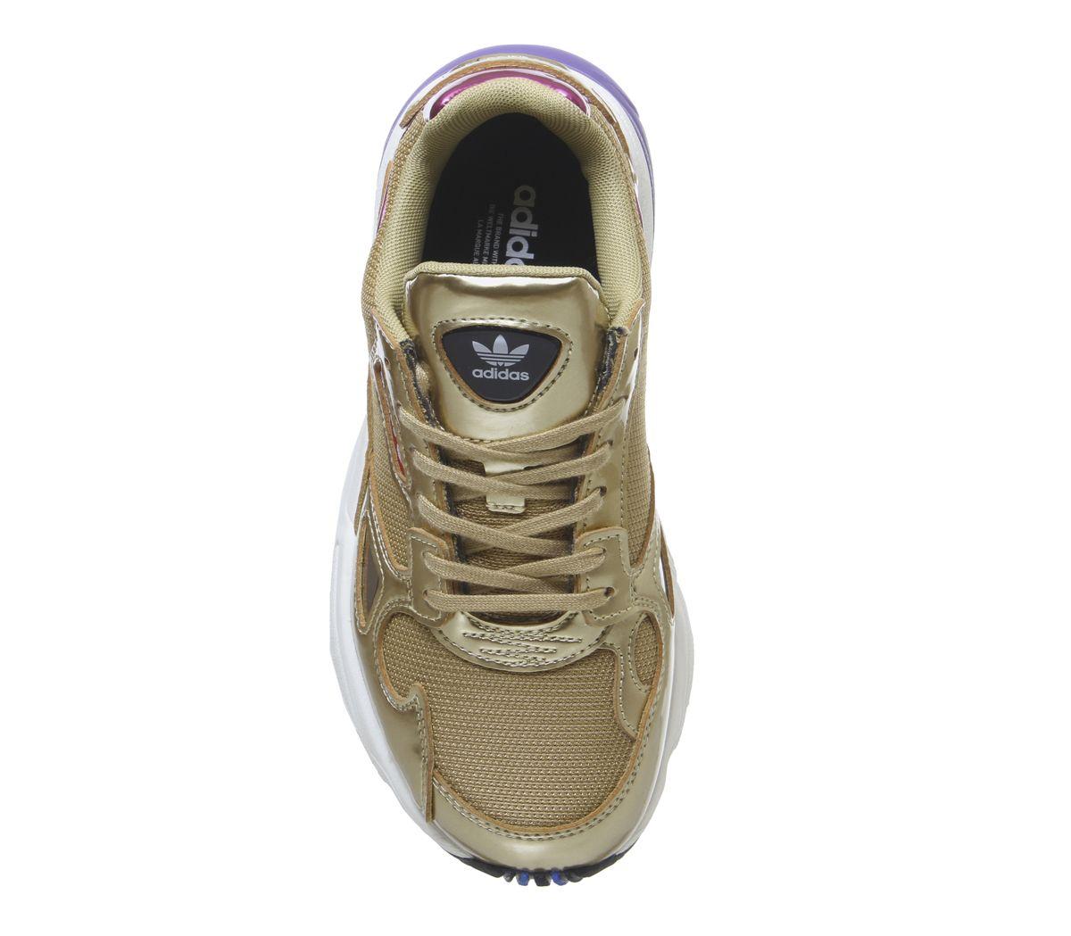 new product 90e5c f4e4b Da-Donna-ADIDAS-Falcon-Trainer-Oro-Metallizzato-Scarpe-