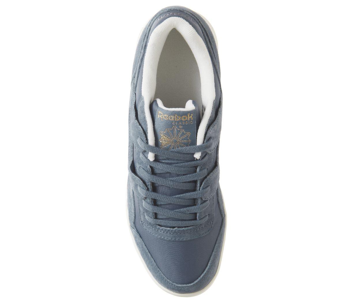 7a4fe5243a4 Womens Reebok Workout Lo Plus Trainers Blue Slate Chalk Brass ...