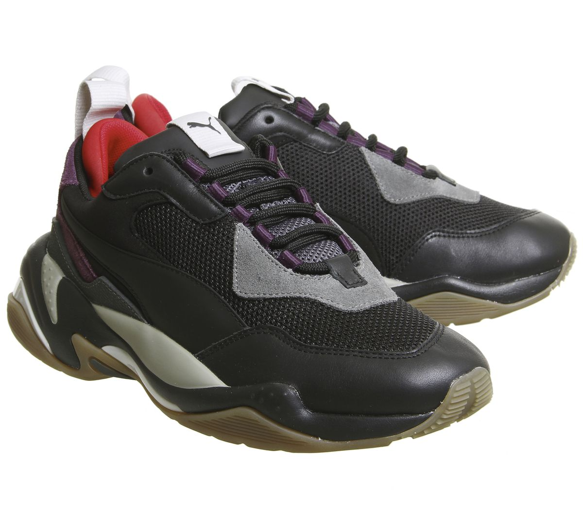 Details about Mens Puma Thunder Spectra Trainers Black Grey Purple Gum  Trainers Shoes