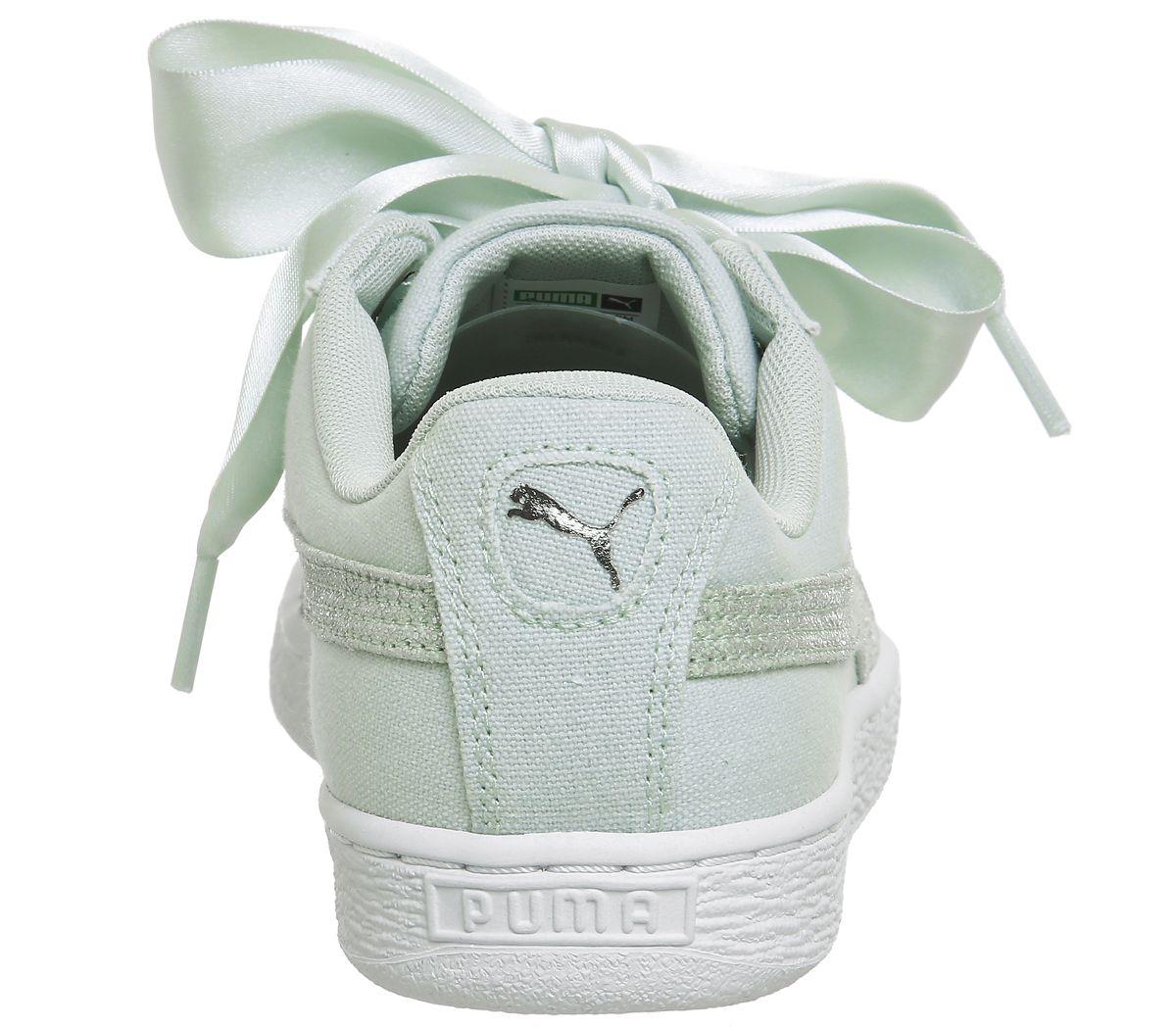 6038c695f9 Sentinel Womens Puma Basket Heart Canvas Blue Flower Puma White Silver Trainers  Shoes