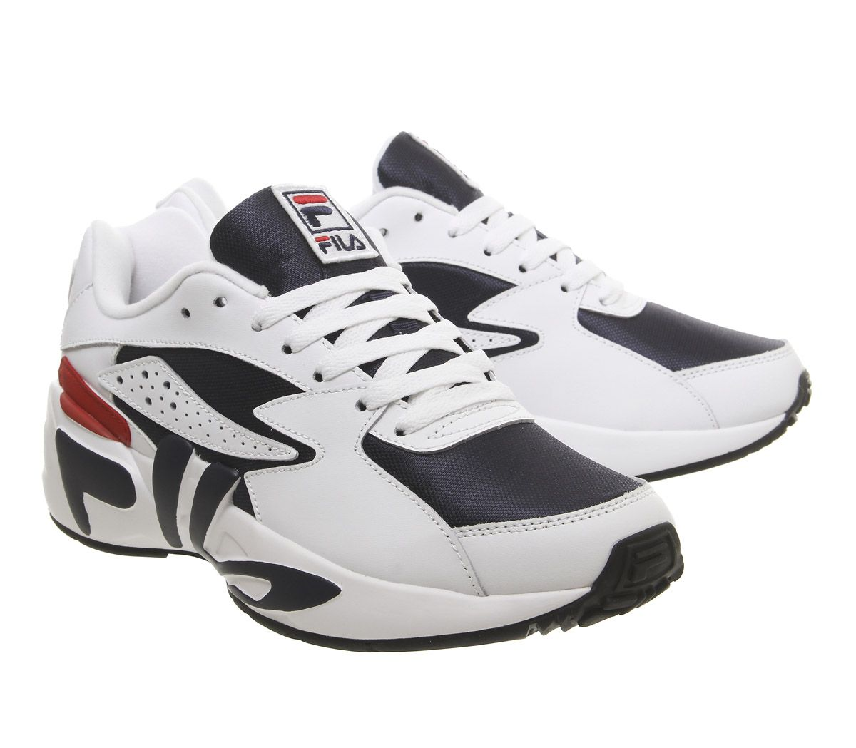 Fila-Mindblower-Trainers-White-Navy-Red-Trainers-Shoes thumbnail 7