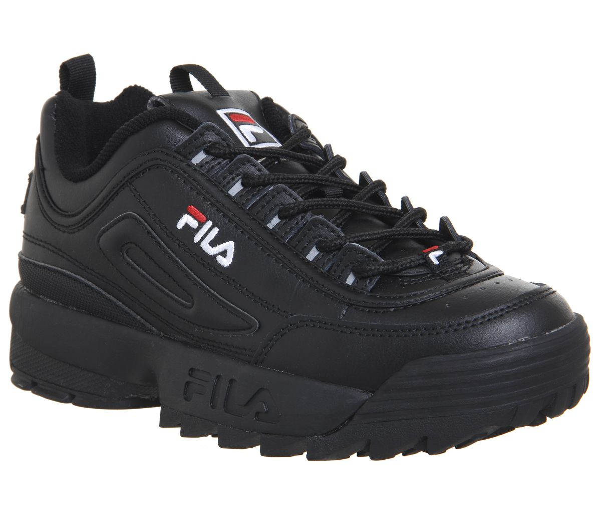 Details about Womens FILA DISRUPTOR II Sports Shoes Black Mono Sneakers-  show original title