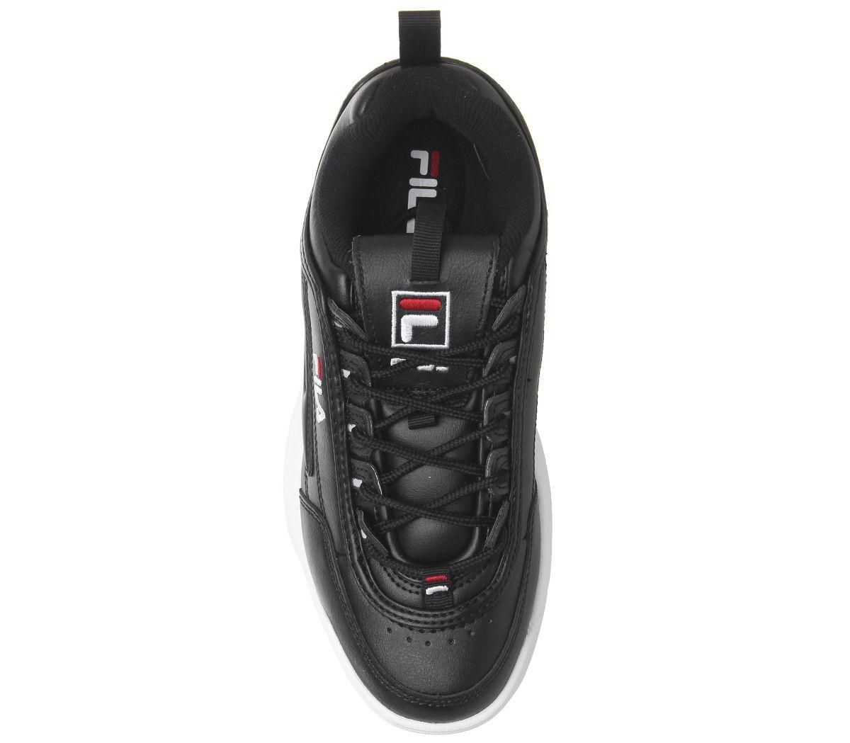 Donna-Fila-Disruptor-II-Scarpe-da-Ginnastica-Nere-Bianche-Sportive-Scarpe miniatura 9