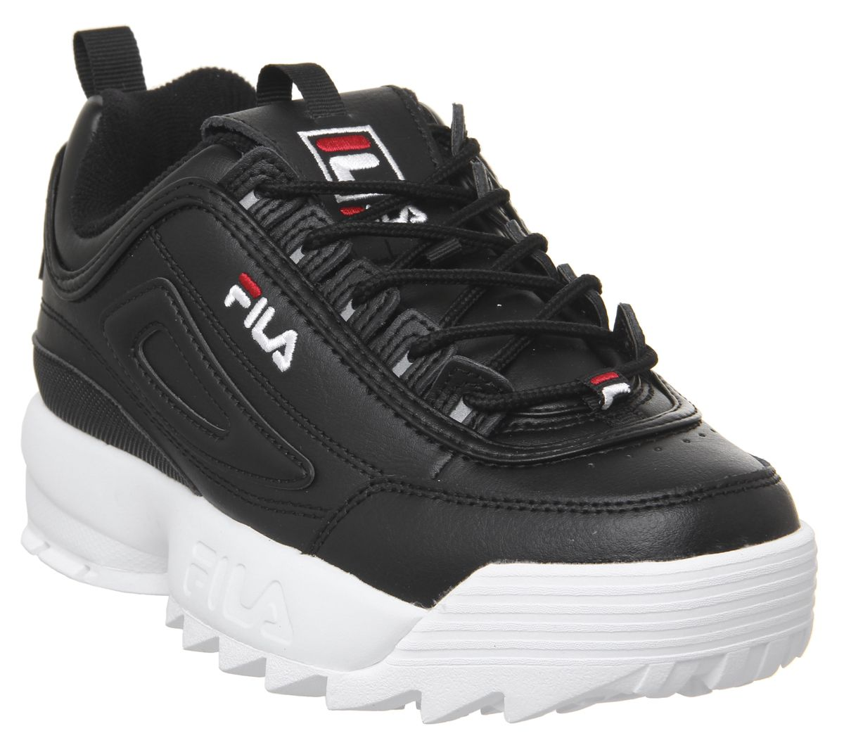 Details about Womens Fila Disruptor Ii Trainers Black White Trainers Shoes