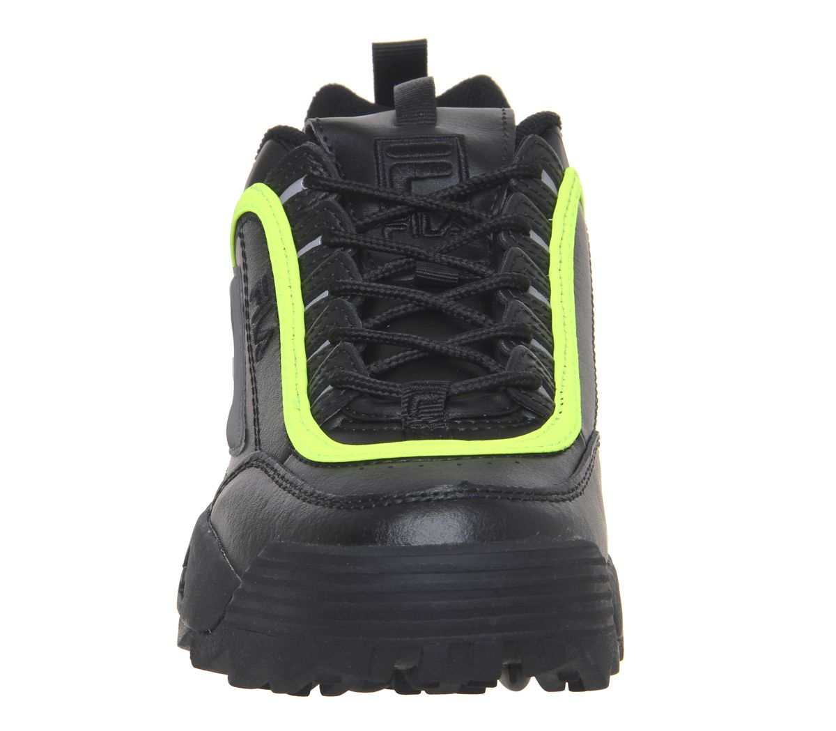 ee4ad9f1dc6 Womens Fila Disruptor Ii Trainers Black Black Safety Yellow Trainers ...
