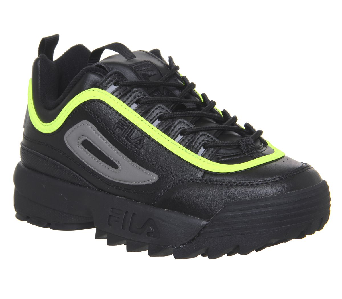 f743deadfc7ba Sentinel Womens Fila Disruptor Ii Trainers Black Black Safety Yellow Trainers  Shoes