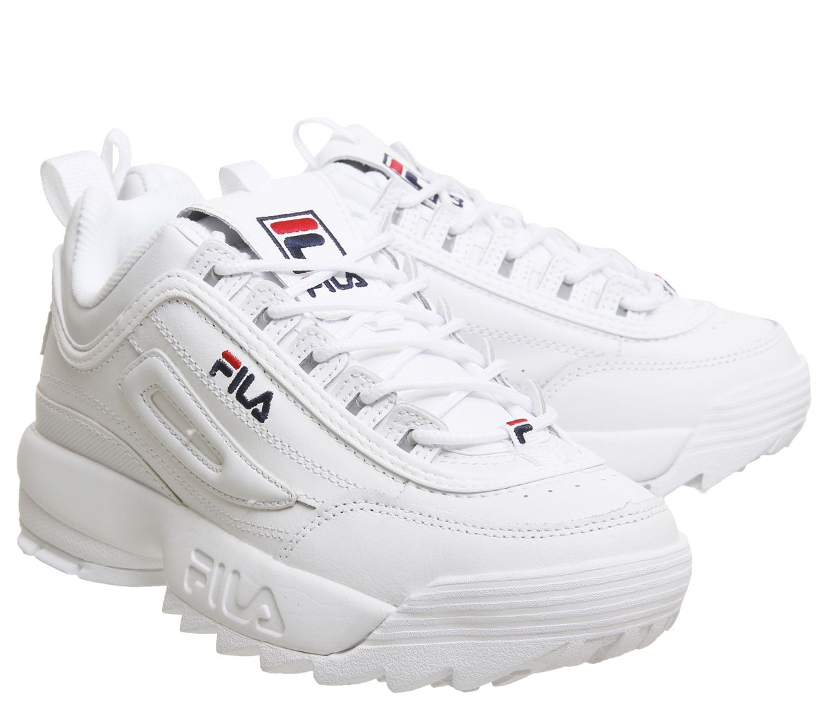 Details about Womens Fila Disruptor Ii Trainers White Leather Trainers Shoes