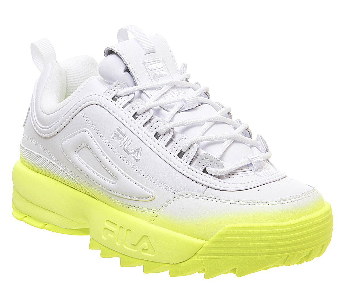 Detalles de Mujer Fila Disruptor II Zapatillas Blanco Seguridad Amarillo Desteñir Deportivas