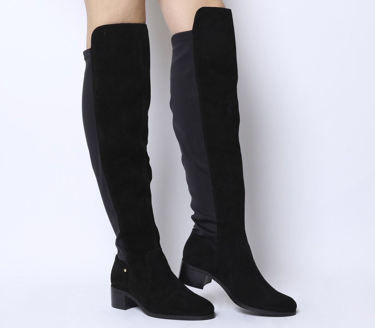 e22f3f678c6 Sentinel Womens Office Kite Stretch Back Over The Knee Boots Black Suede  Boots