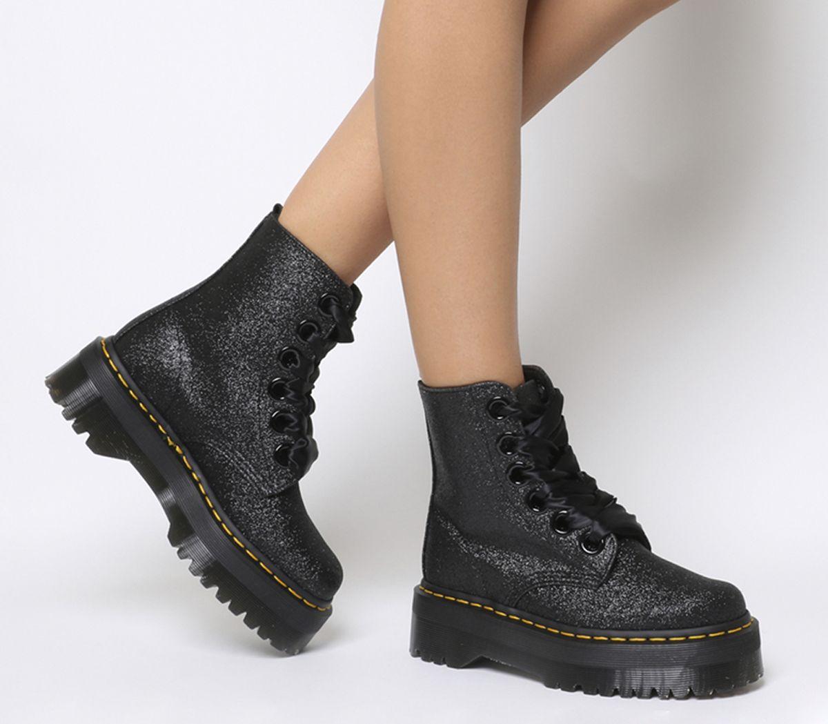 22f563b6c994e9 Da Donna Dr. Martens Molly Glitter Stivali Neri Boots | eBay