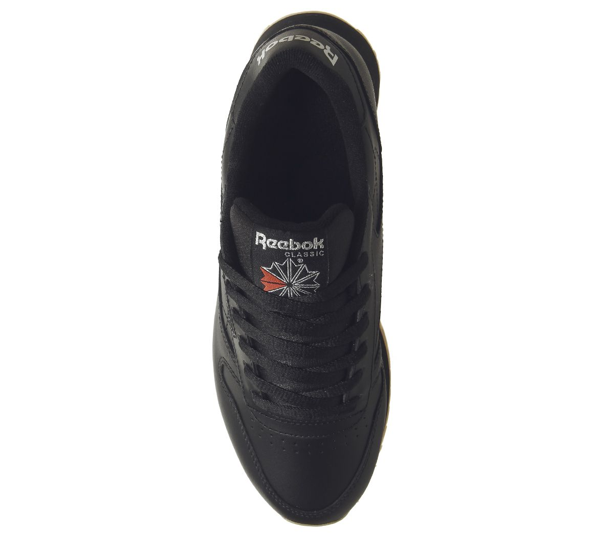 58bae1542534 Sentinel Womens Reebok Classic Leather Double Trainers Black Gum Silver  Metallic Trainers