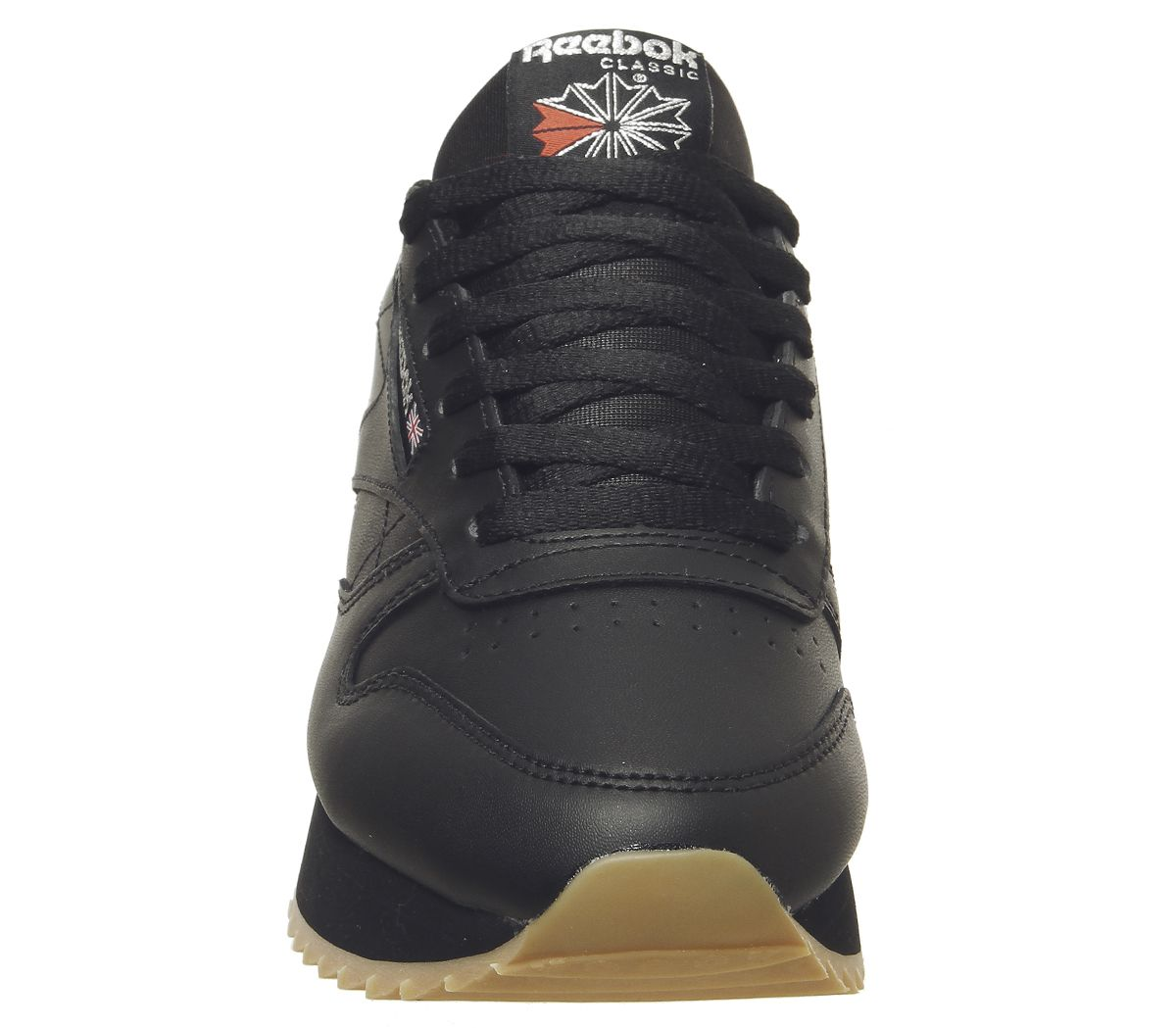 842c9074553 Sentinel Womens Reebok Classic Leather Double Trainers Black Gum Silver  Metallic Trainers