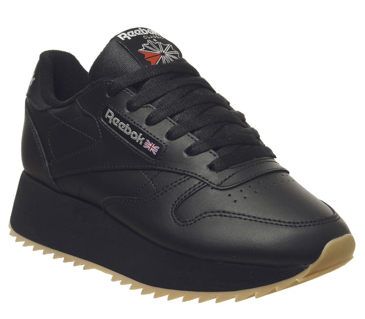 new product ee086 e1acf Sentinel Womens Reebok Classic Leather Double Trainers Black Gum Silver  Metallic Trainers