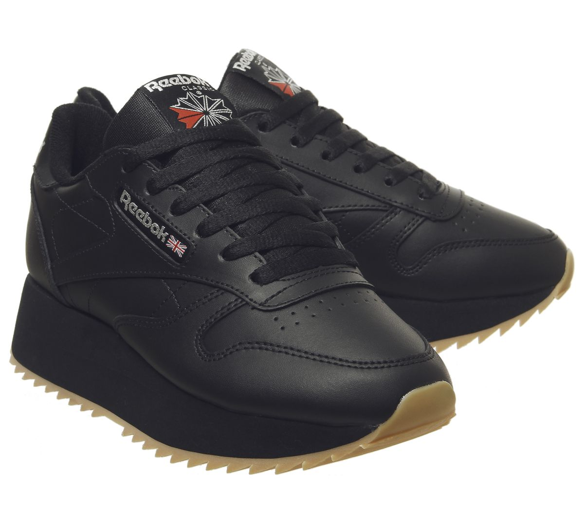 2472cbdc29560 Womens Reebok Classic Leather Double Trainers Black Gum Silver ...