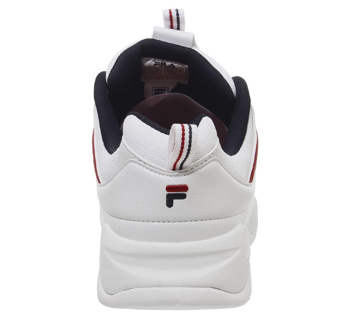 ebc0c02490e31 Womens Fila Fila Ray Trainers White Fila Navy Red Trainers Shoes