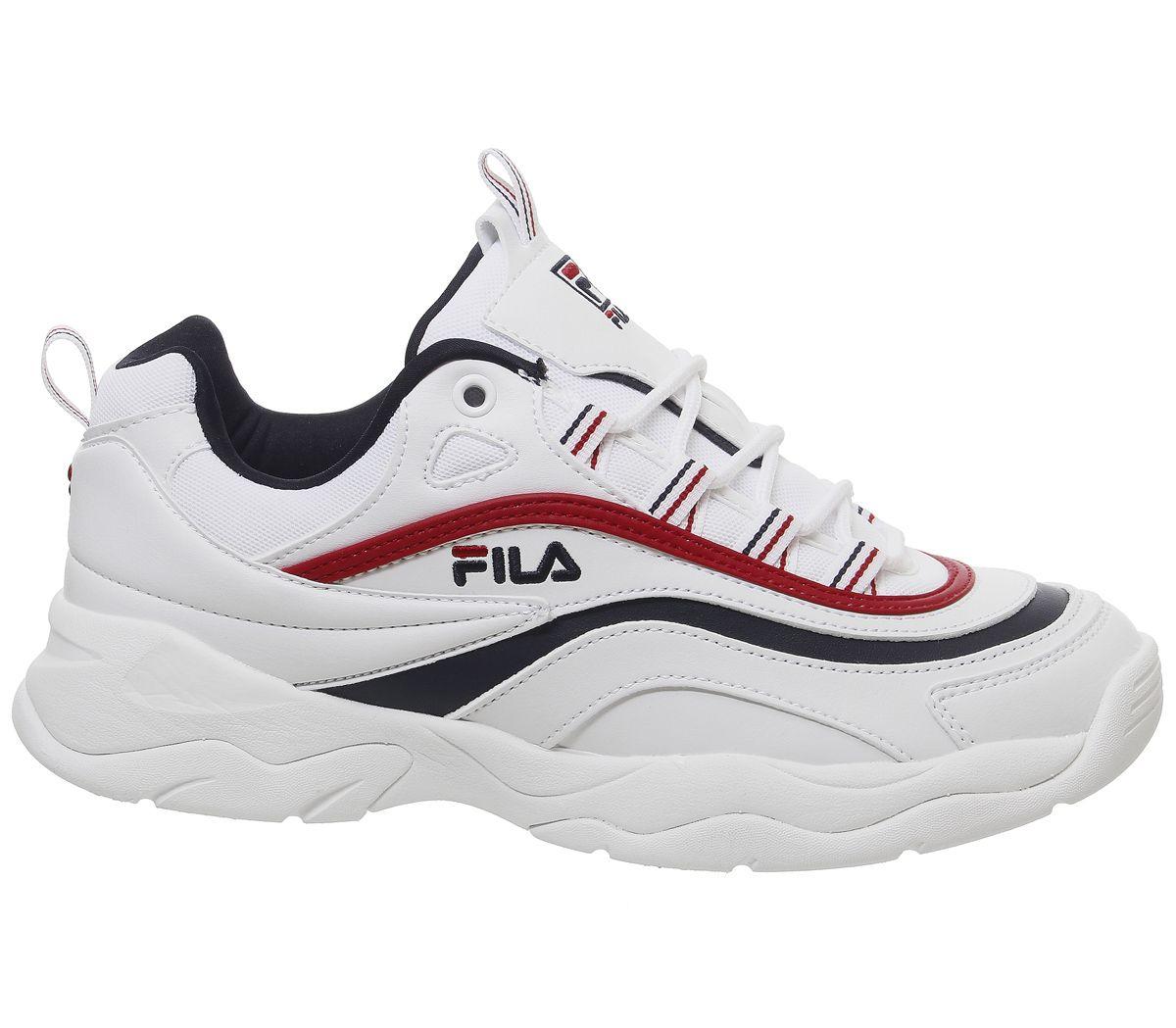 ec2998559535e Sentinel Womens Fila Fila Ray Trainers White Fila Navy Red Trainers Shoes