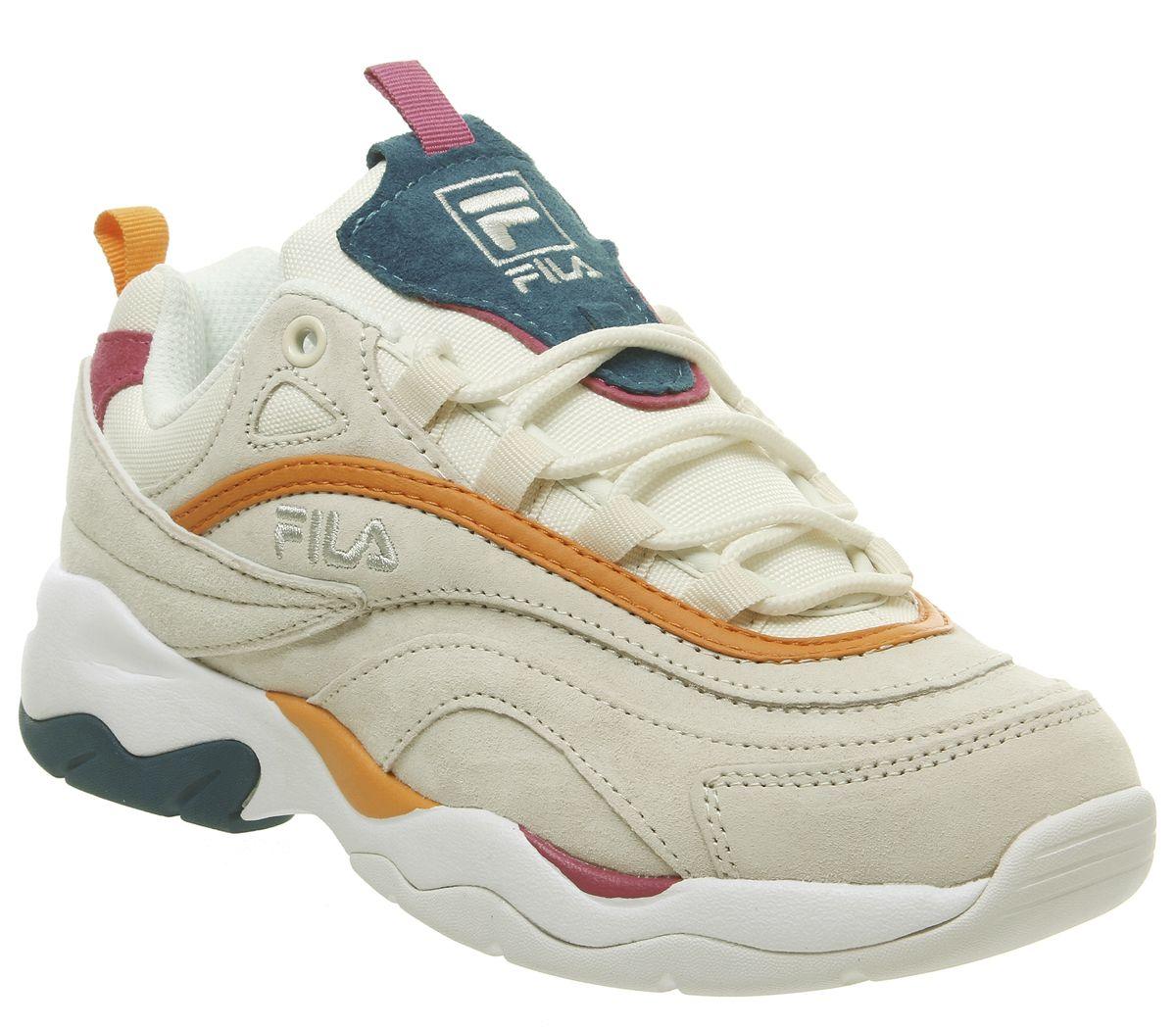 Womens Fila Fila Ray Trainers White Fila Navy Metallic Silver Trainers Shoes