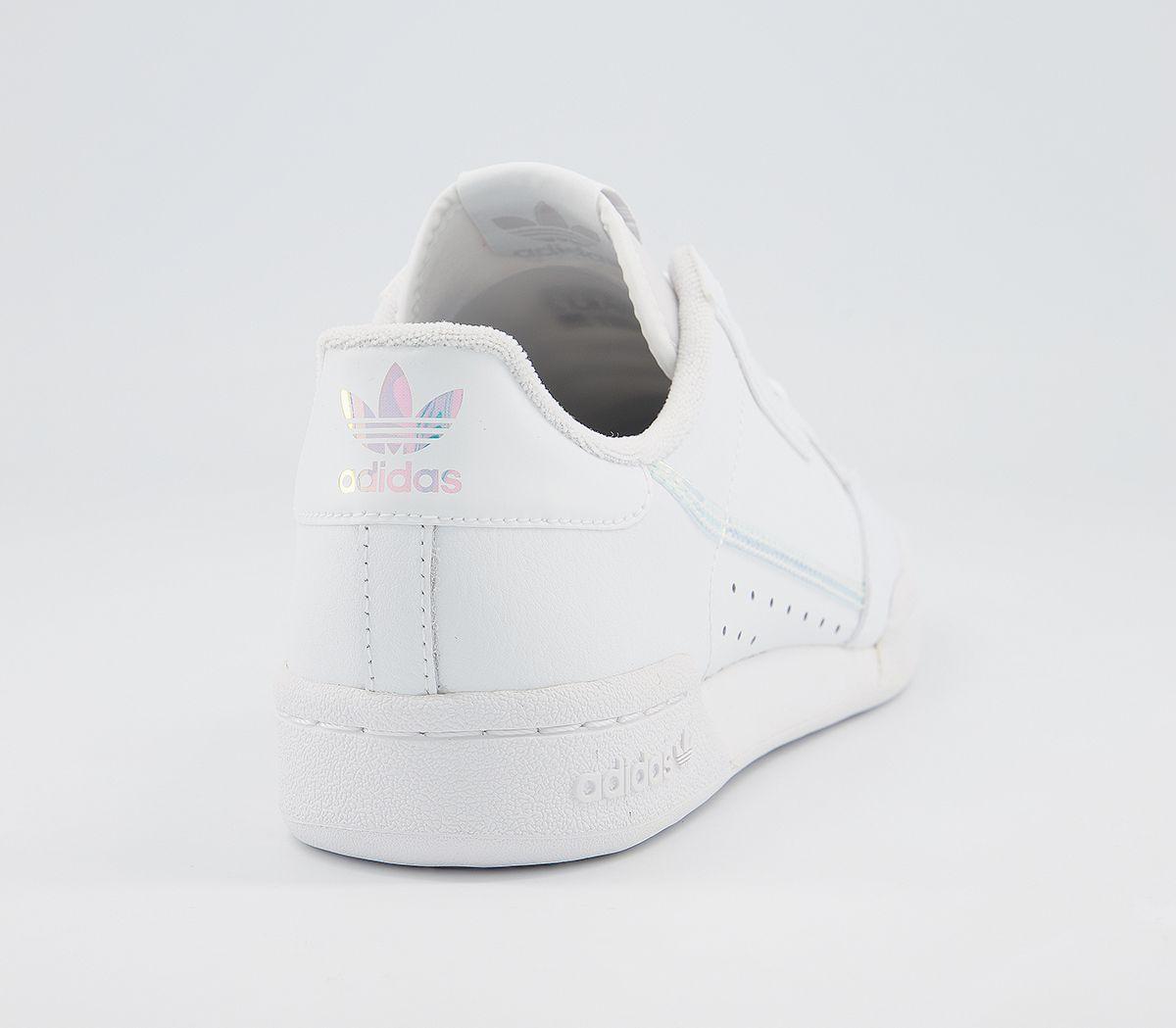 Bambini-Adidas-Continental-anni-039-80-JNR-Scarpe-da-ginnastica-bianco-iridescente-Kids miniatura 3