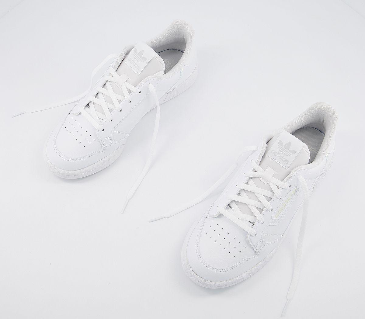 Bambini-Adidas-Continental-anni-039-80-JNR-Scarpe-da-ginnastica-bianco-iridescente-Kids miniatura 14