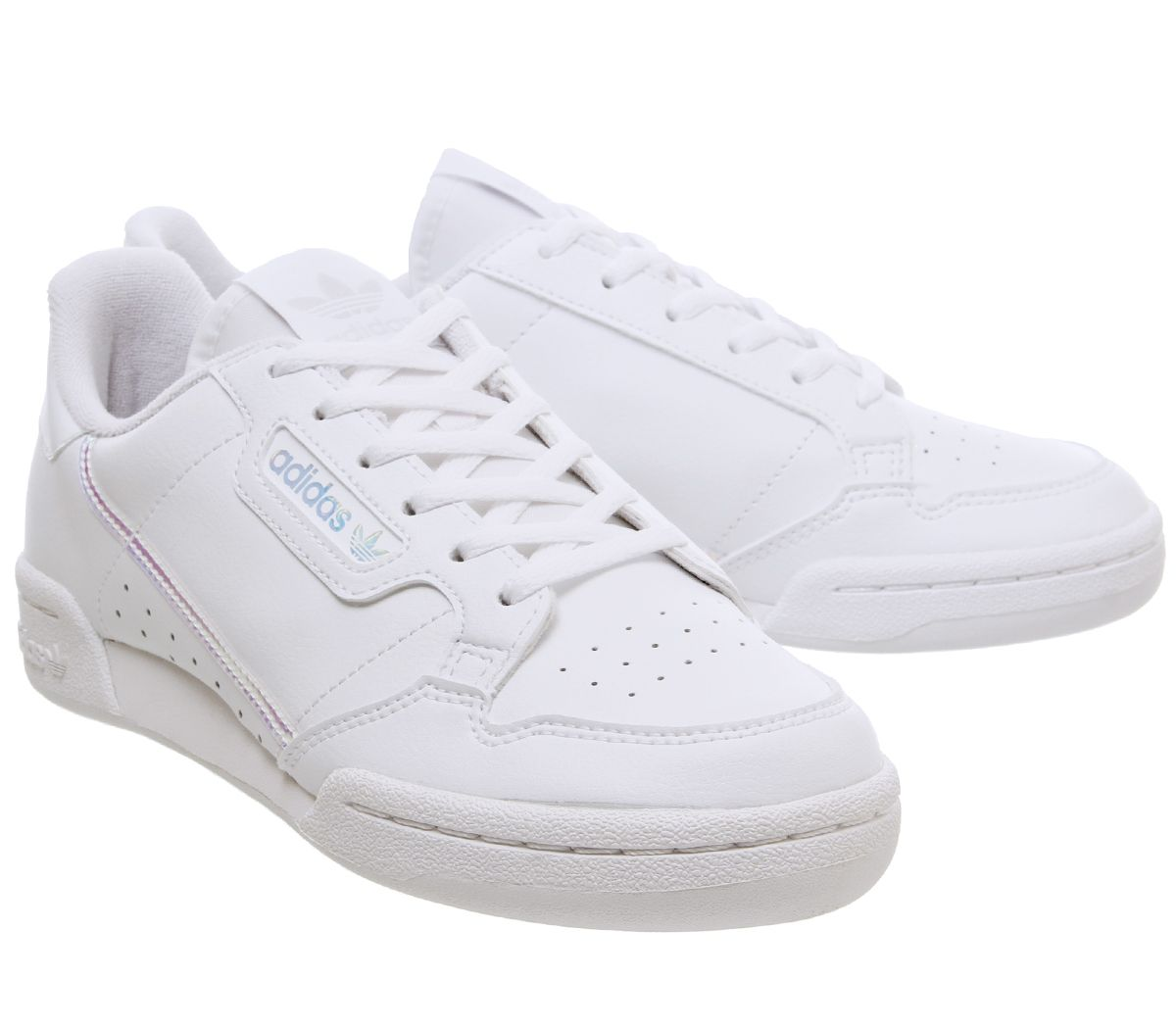 Bambini-Adidas-Continental-anni-039-80-JNR-Scarpe-da-ginnastica-bianco-iridescente-Kids miniatura 6