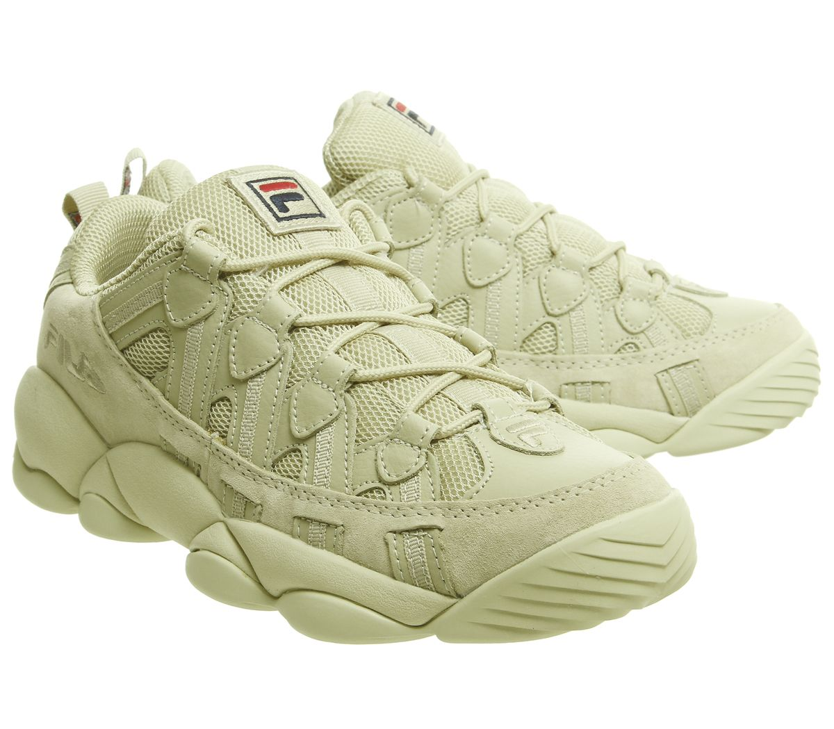 Details about Fila Spaghetti Low Trainers Fila Cream Mono Trainers Shoes