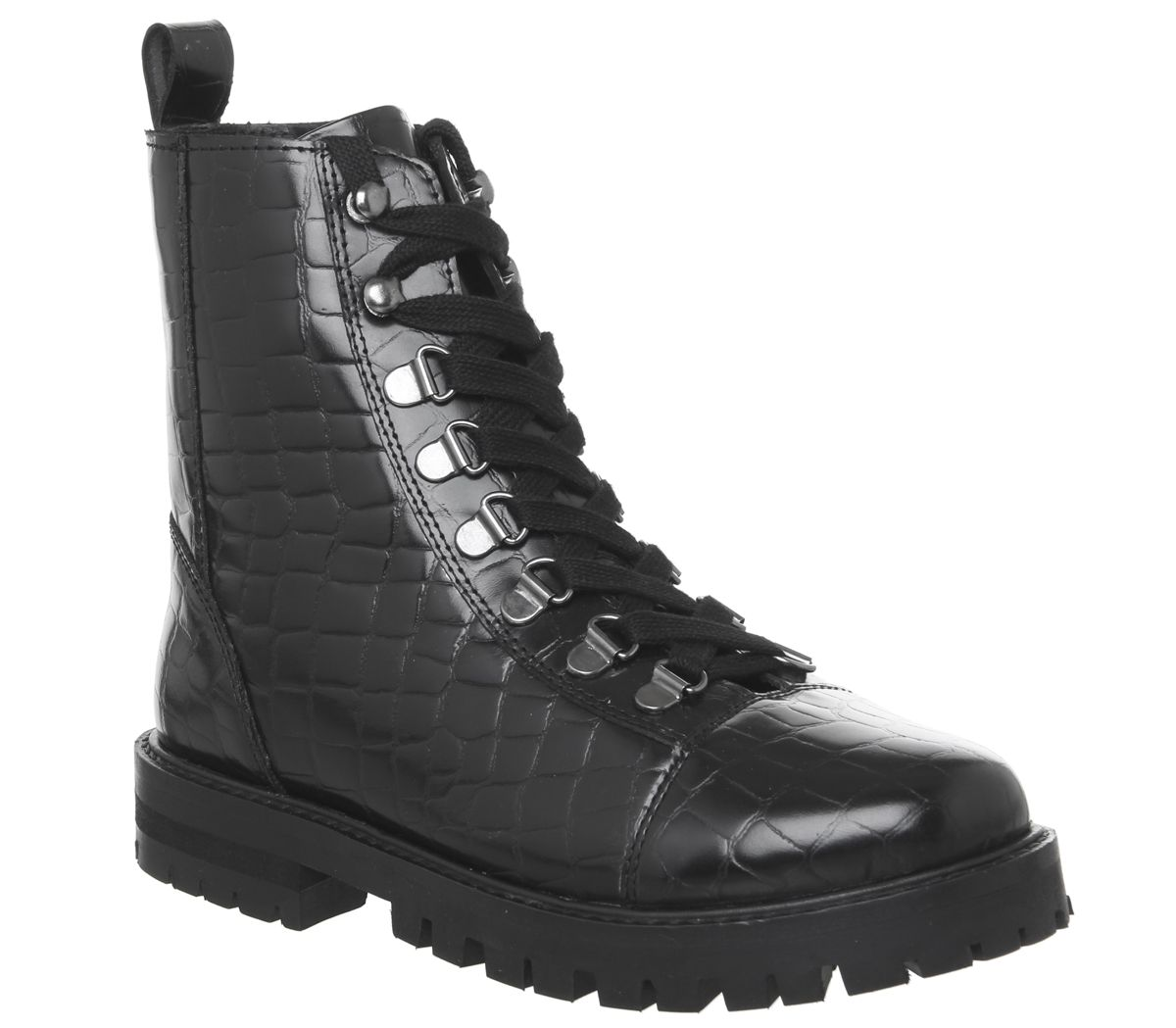0310d033a0a Details about Womens Office Ansel Hiker Lace Up Boots Black Croc Leather  Boots