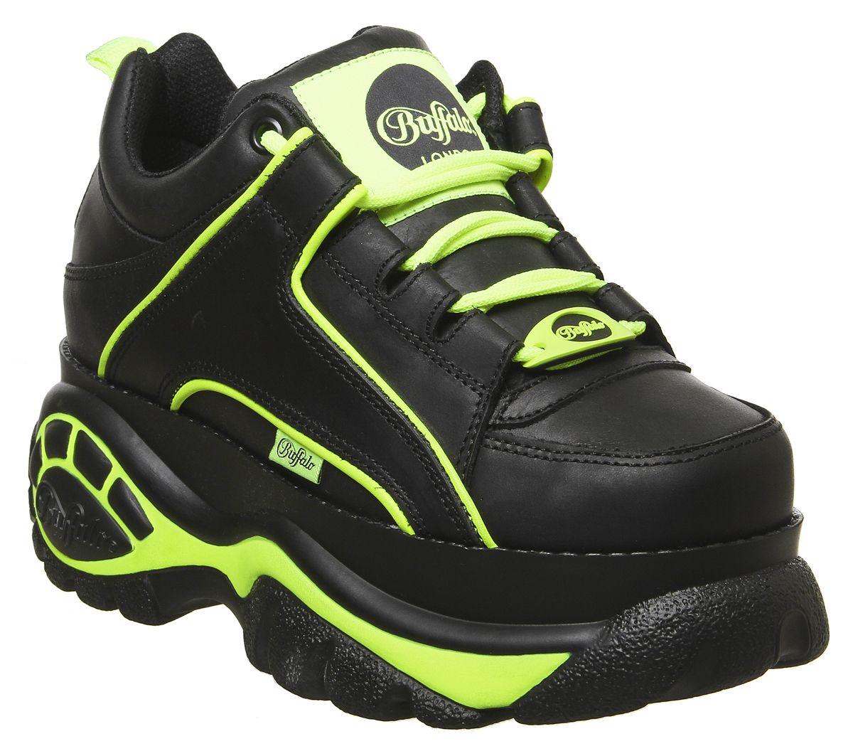 comprare popolare 5f1ab 360d0 Dettagli su Donna Buffalo Classico Sneakers Basse Nero Verde Neon Scarpe da  Ginnastica