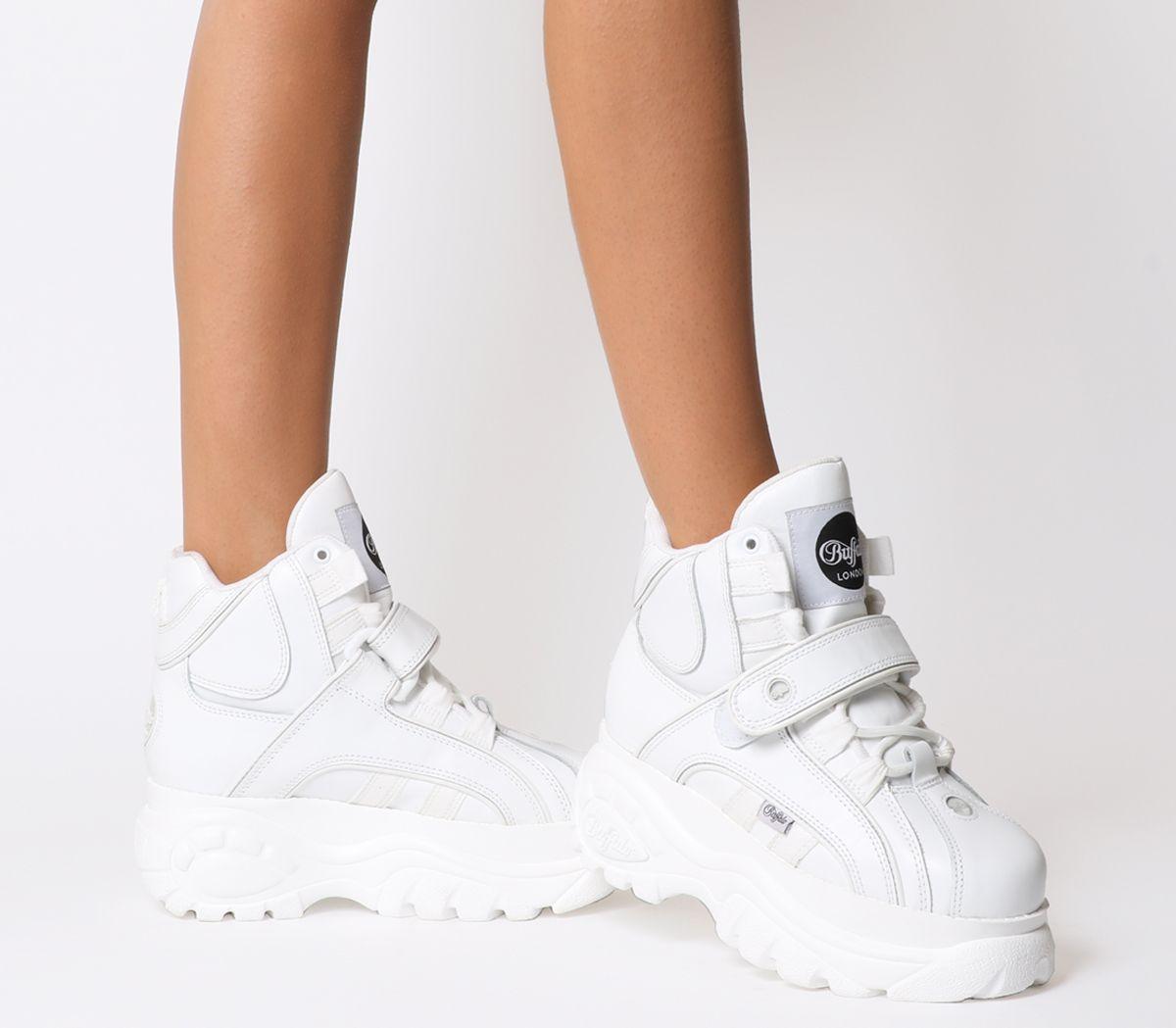 Details zu Damen Buffalo Buffalo Klassisch Hoch Sneakers Weiß Turnschuhe