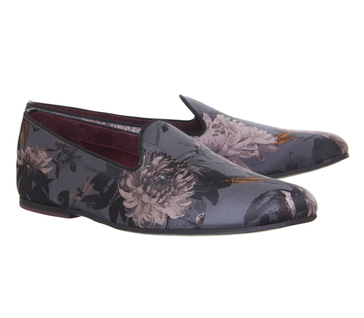 99b0dd3d4c71b7 Sentinel Mens Ted Baker Vihan Evening Slippers Grey Floral Formal Shoes