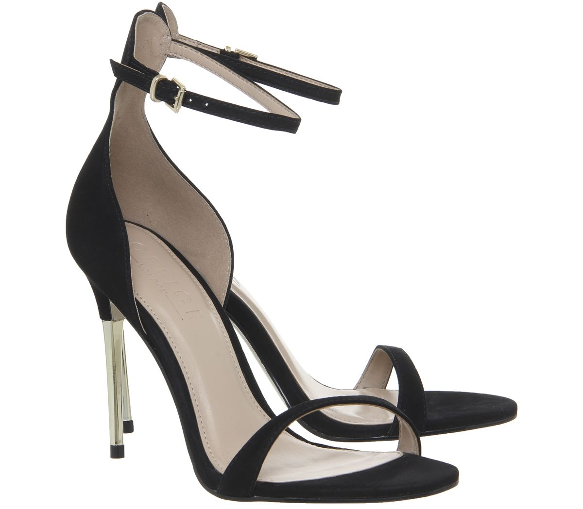 ed52d1f7e1a Womens Office Happy Metal Heel Sandals Black Nubuck Heels