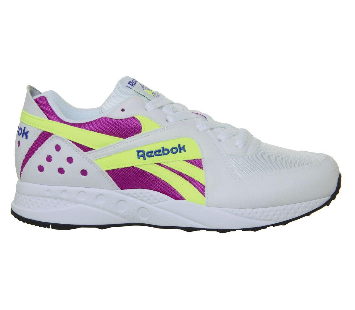 Détails sur Reebok Pyro Pour Homme Baskets Blanc Vicious Violet Jaune Néon Baskets Chaussures afficher le titre d'origine