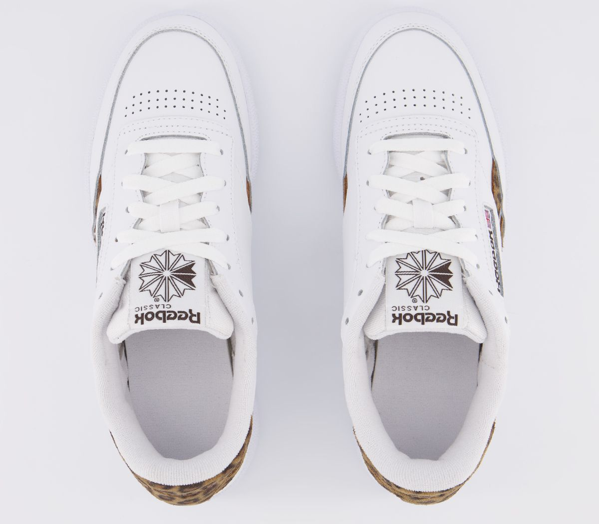 Details zu Womens Reebok Revenge Plus Trainers White Natural Leopard Print Trainers Shoes