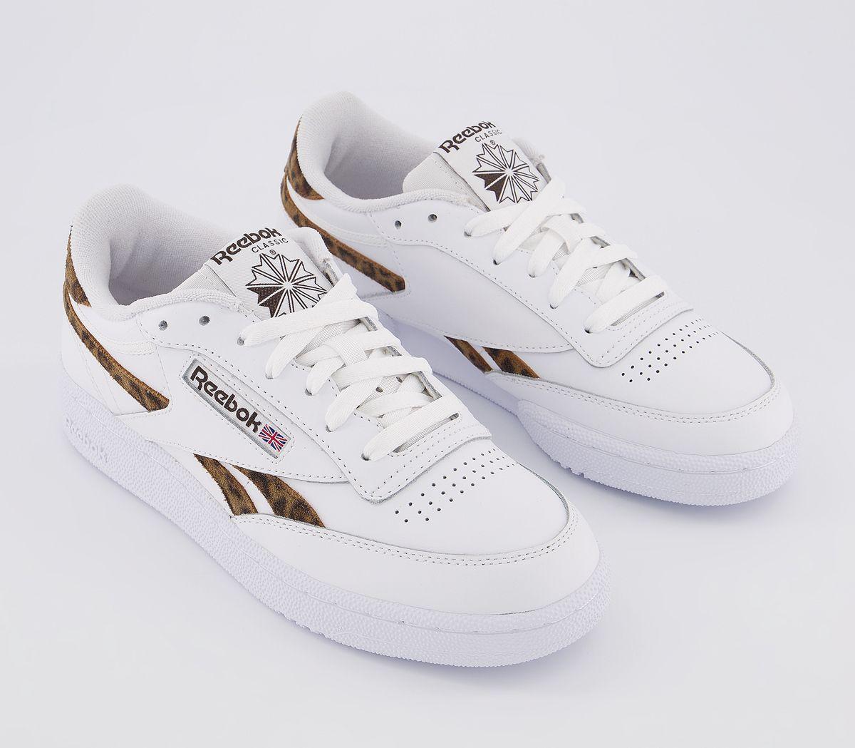 Damen Reebok Rache Plus Sneaker Weiß Natur Leopardenmuster