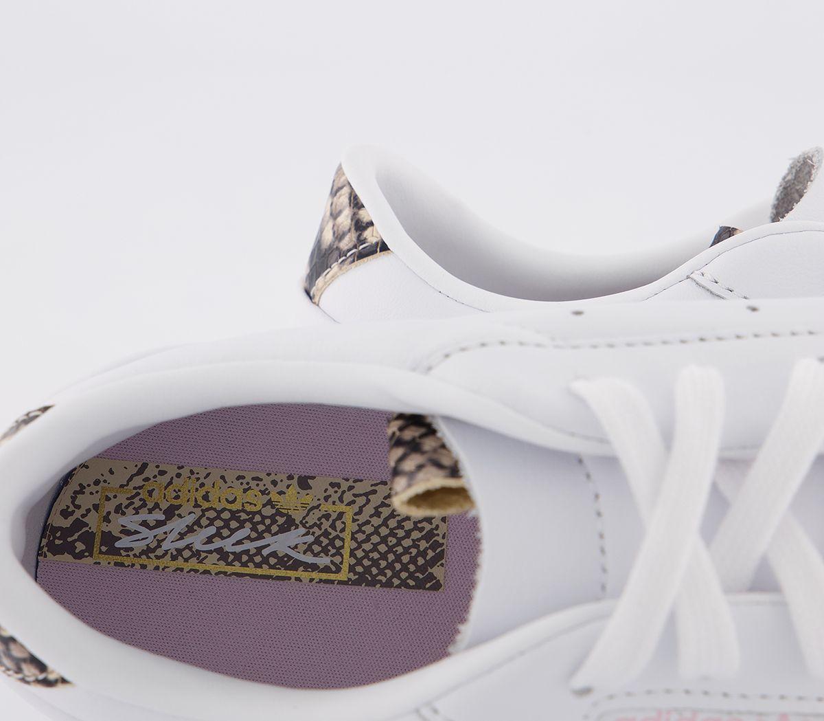 Da-Donna-Adidas-Elegante-Scarpe-Da-Ginnastica-Bianco-Rosa-chiaro-serpente-stampato-ESCLUSIVO-Scarpe miniatura 3