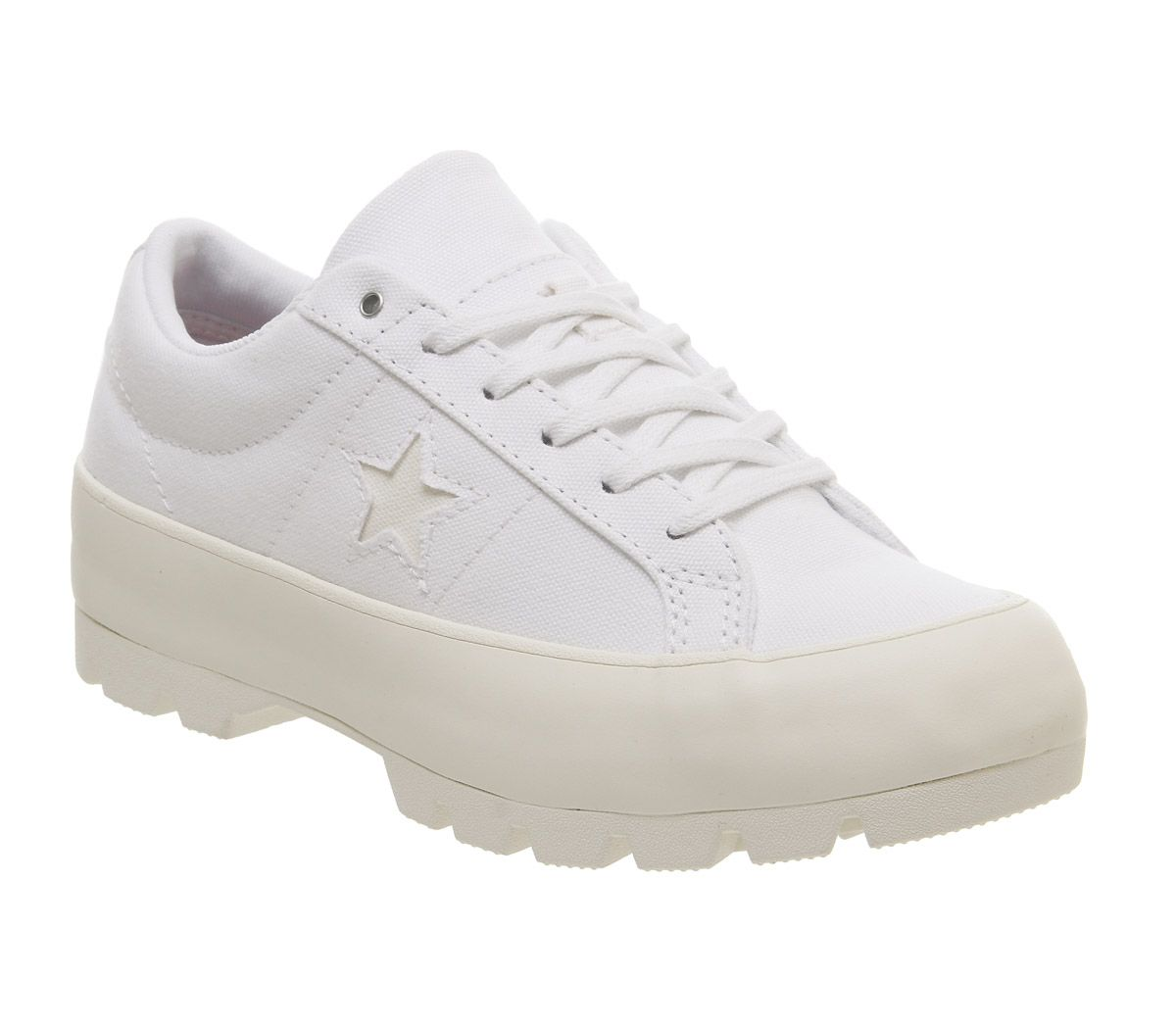 Details about Womens Converse One Star Lugged Ox Trainers White White Egret Trainers Shoes