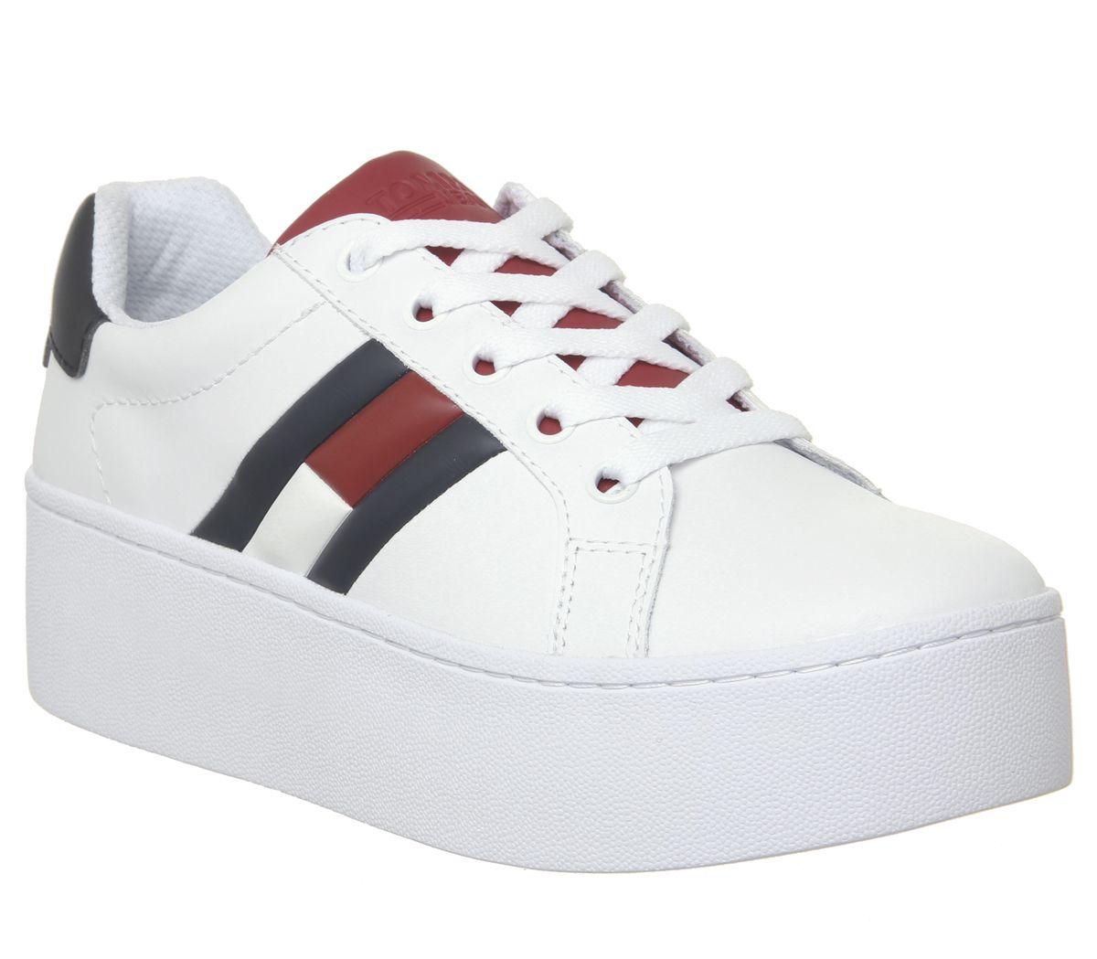 new concept 768af 6be37 Dettagli su Da Donna Tommy Hilfiger Sneaker Flag Piattaforma Scarpe Da  Ginnastica Bianco Rosso Blu Scarpe Da Ginnastica sho- mostra il titolo ...