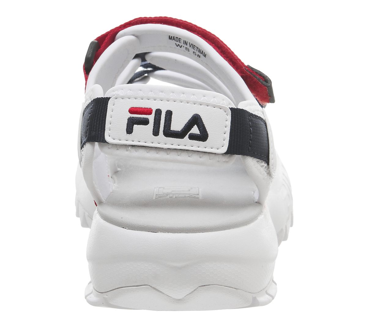 c58505cd29e Womens Fila Disruptor Sandals White Fila Navy Fila Red Sandals