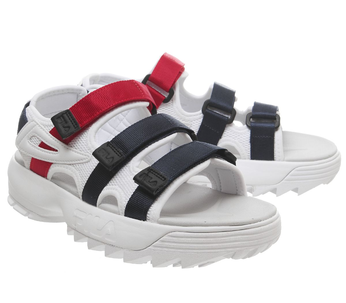 4516556df48 Sentinel Womens Fila Disruptor Sandals White Fila Navy Fila Red Sandals