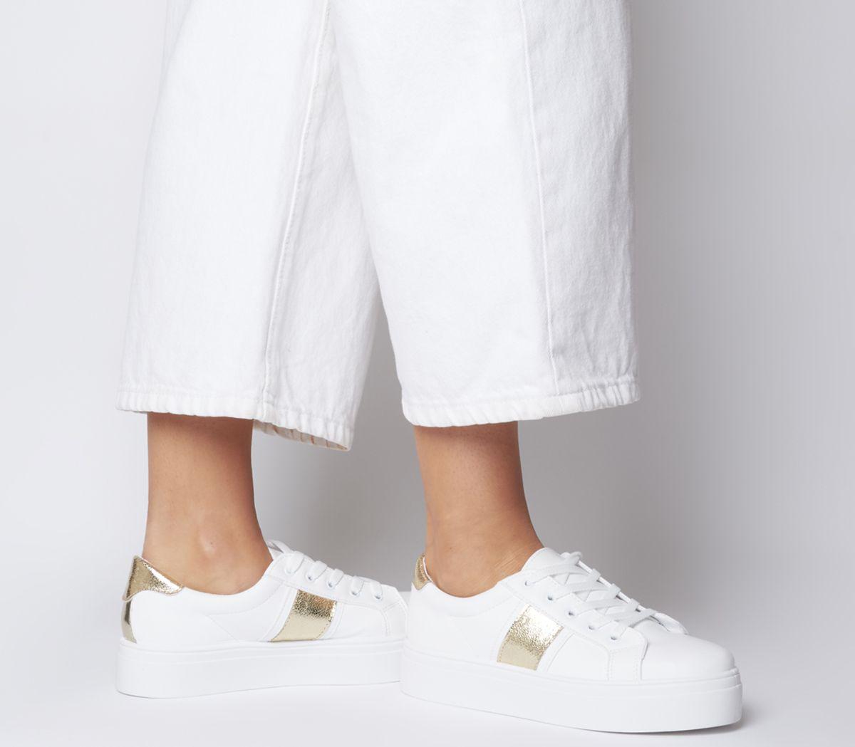 separation shoes wholesale sales low cost Detalles de Función de oficina para Mujer Plataforma Con Cordones  Entrenadores Blanco con pisos de oro- ver título original