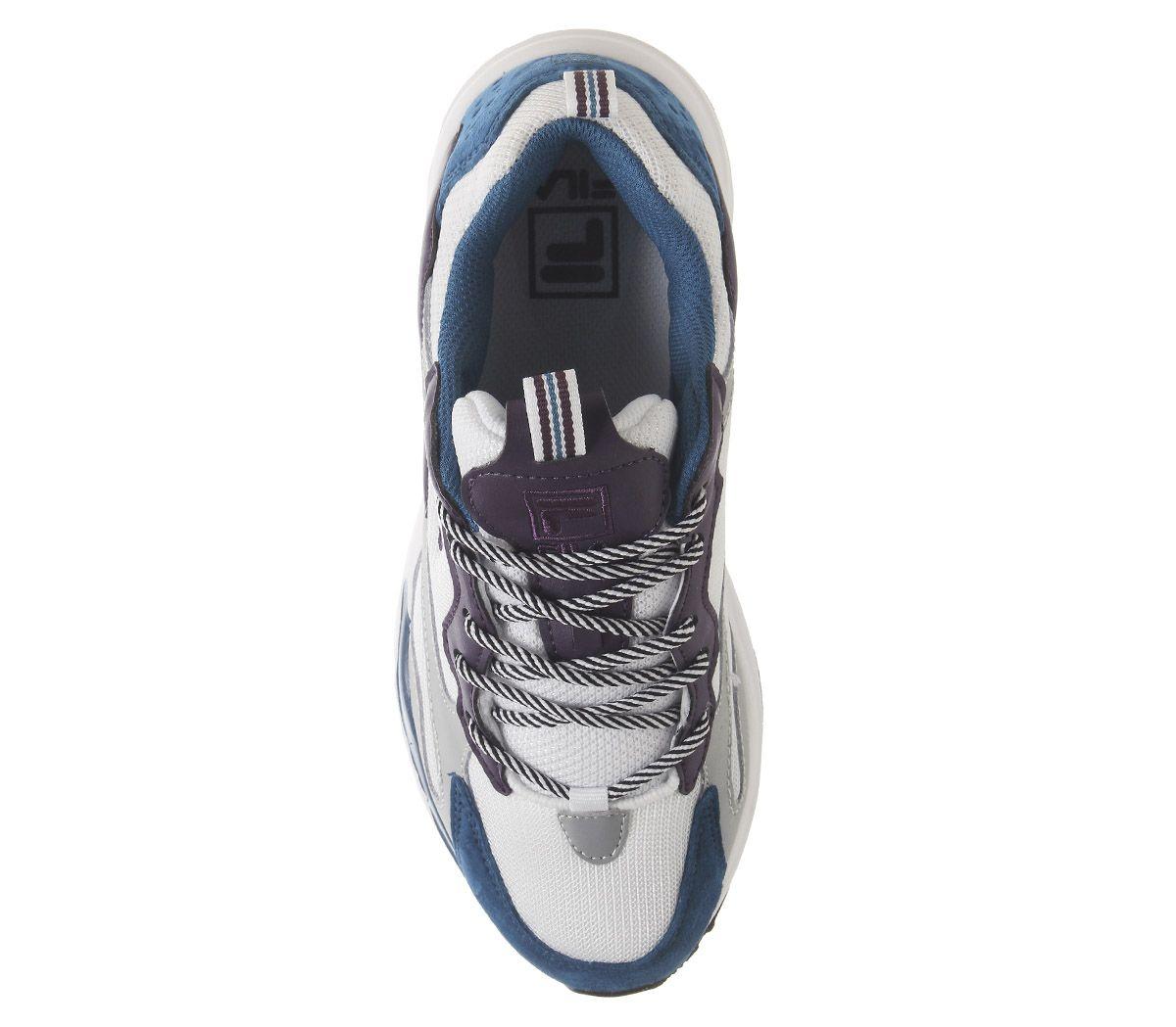 Detalles de Zapatillas para mujer fila trazador de rayos Tinta Blanca Blue Púrpura Banderín F Zapatillas Zapatos ver título original