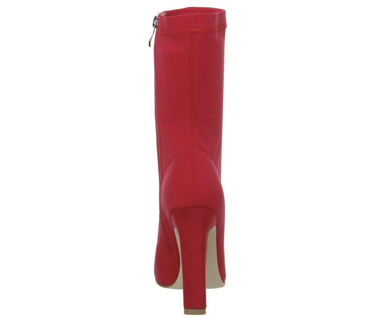 9c6075933dc7c4 Womens Ego Cassia Elastic Heeled Boots Red Boots   eBay