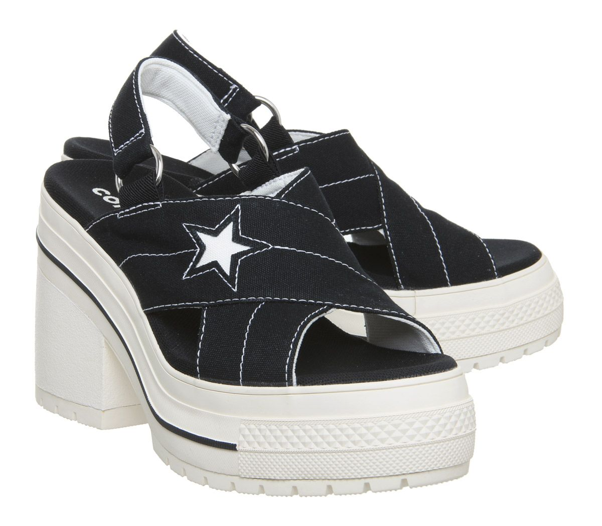Womens-Converse-One-Star-Heels-Black-Egret-Trainers-Shoes thumbnail 6