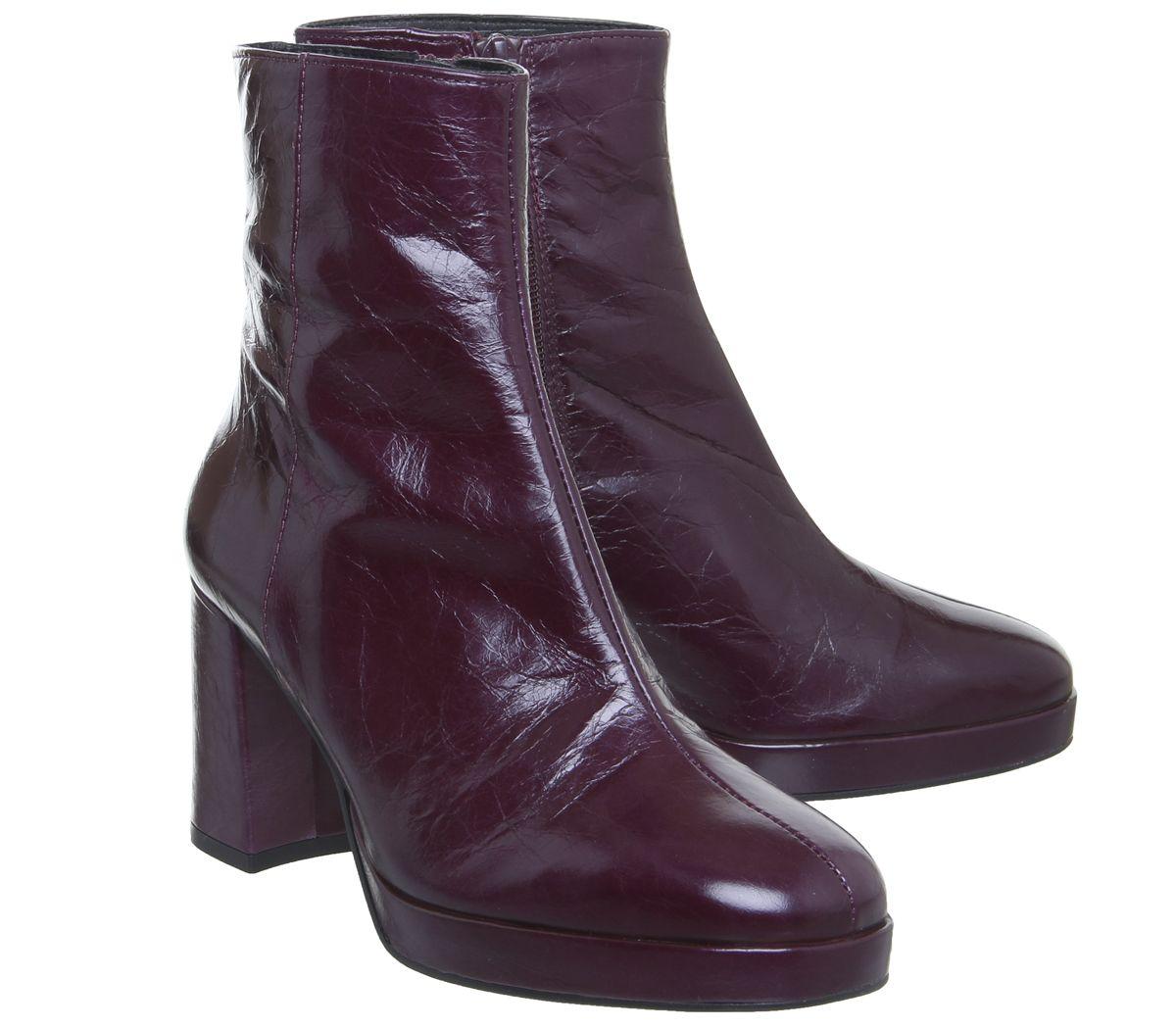 Femme Bureau Aquarius Bas bottes compensées bordeaux Bottes en cuir