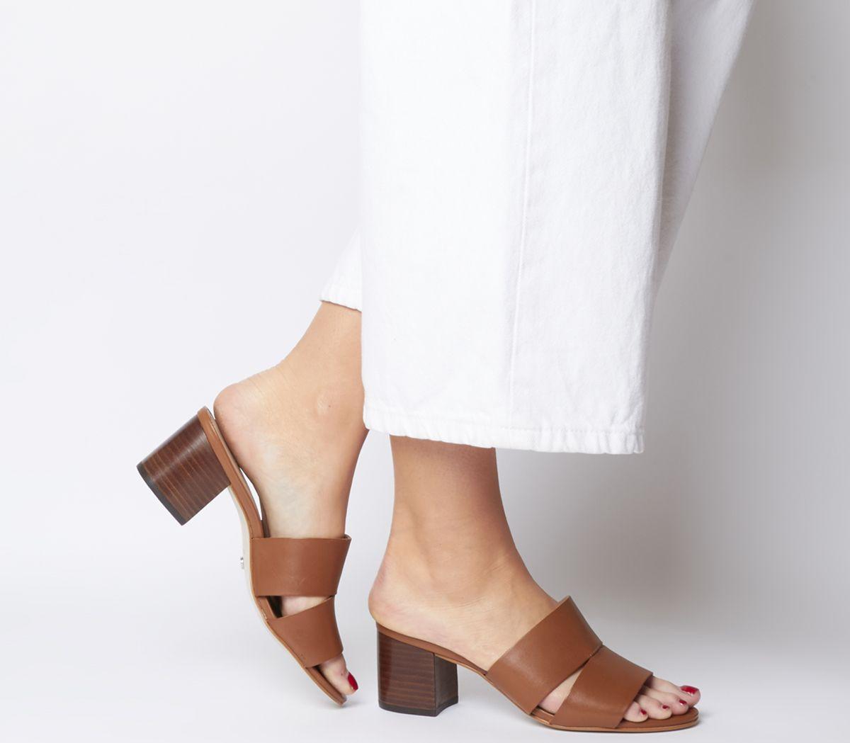 cfcf6bda96192 Sentinel Thumbnail 1. Sentinel Womens Office Malena Cut Out Mules Tan  Leather Heels