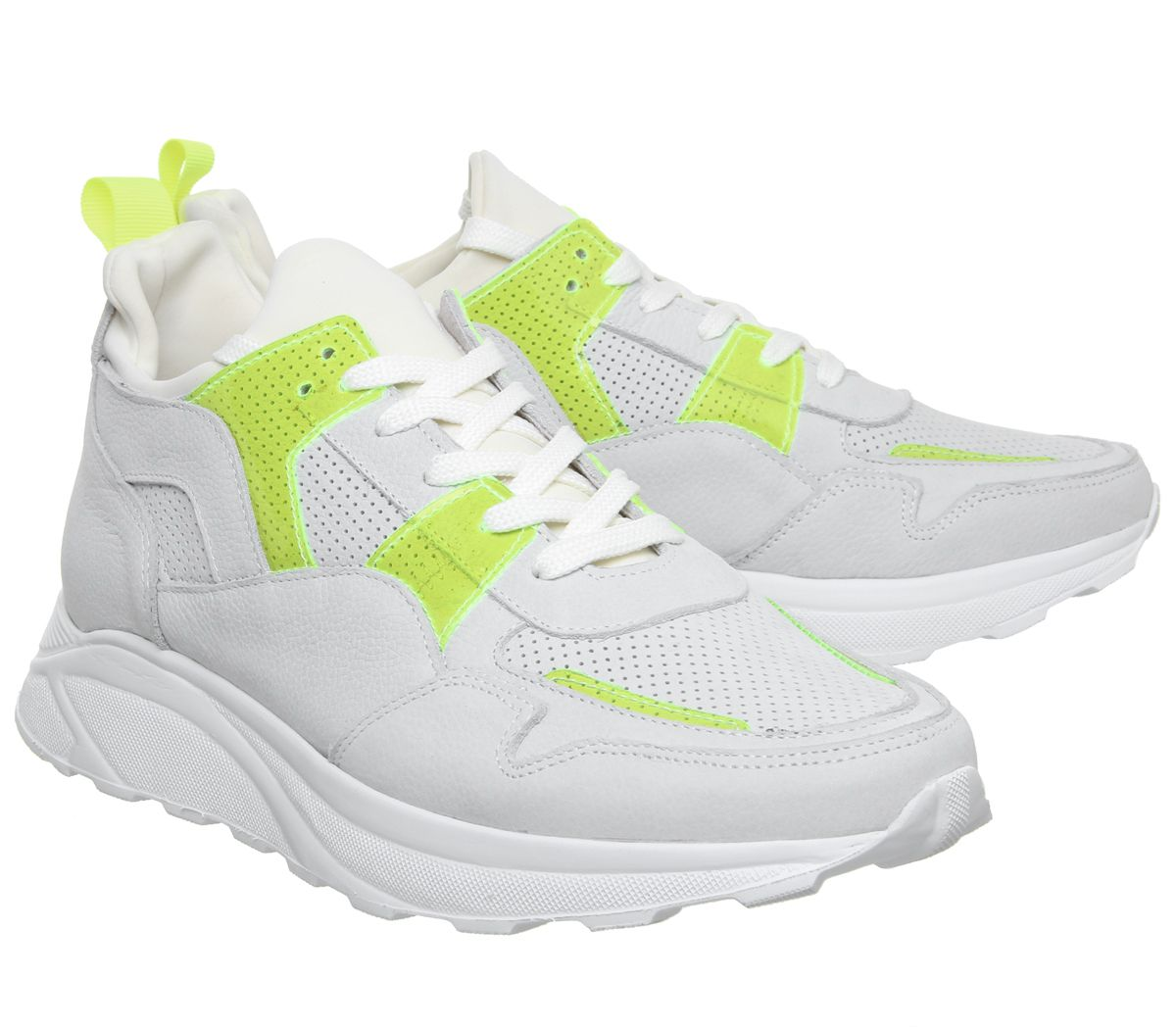 Mens-Office-Lacrosse-Trainers-White-Yellow-Nubuck-Casual-Shoes thumbnail 7